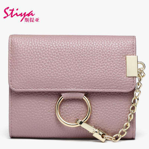 Korean Style Short Sized Cow Leather Wallet With Chain And Ring Elements gallery 1