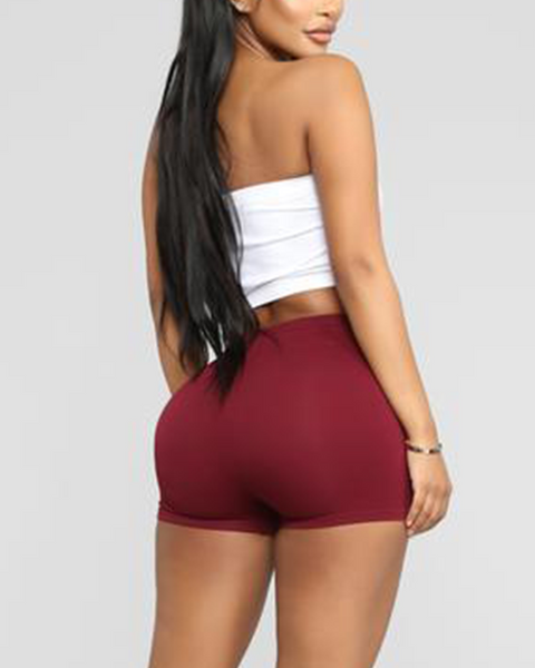 Solid Ribbed High Waist Shorts gallery 20