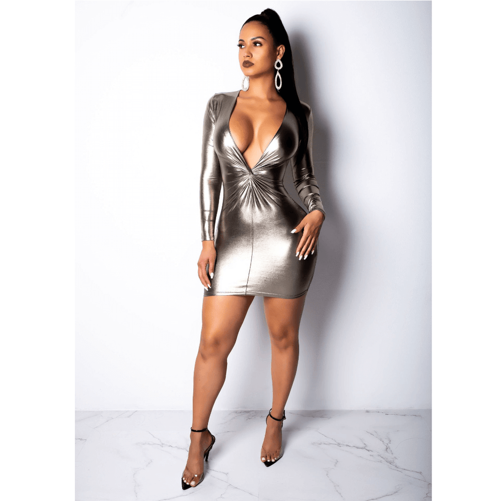 Gold metallic Knot Front Plunge Bodycon Mini Dress