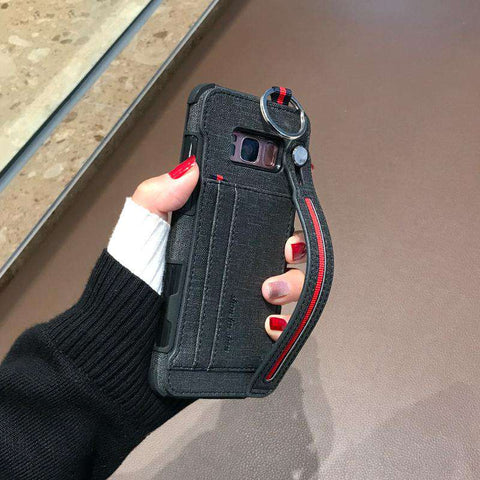 Luxury Lint Phone Case for Samsung with Wrist Strap gallery 2