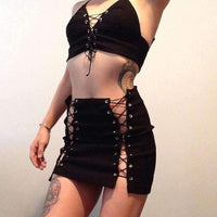 Women's Strappy Cropped Top and Mini Skirt Set