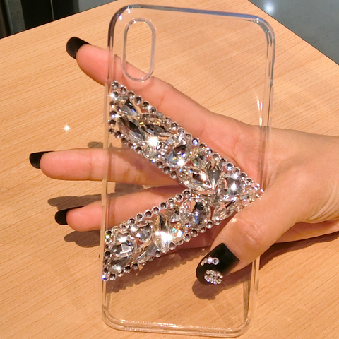 Clear Transparent V Rhinestone Deco Phone Case for Samsung gallery 5