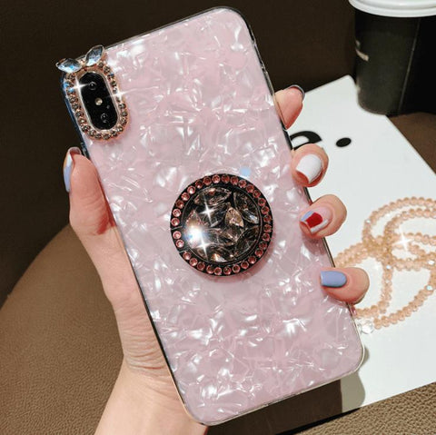 Elegant Shell Pattern Phone Case for Samsung with Artificial Rhinestone Diamond Phone Holder gallery 2