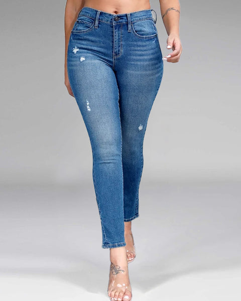 Front Ripped Butt Lifting Skinny Jeans