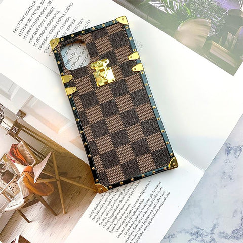 Plaid Leather Rivet Edge Phone Case for Samsung with Hand Strap gallery 9