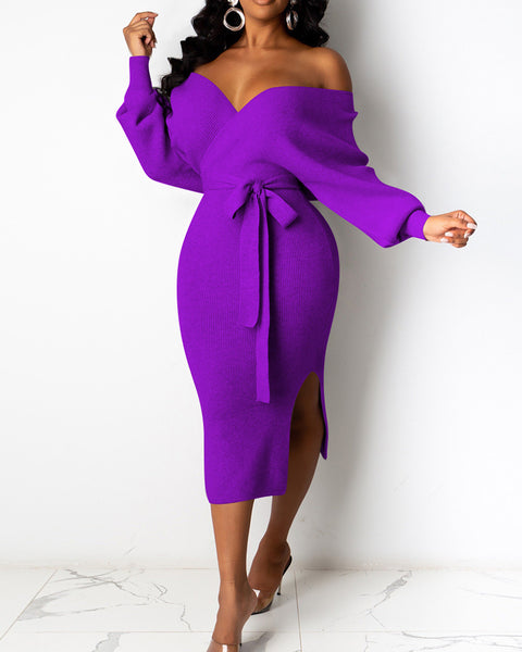 Solid Ribbed Wrap Self Belted Split Hem Midi Dress