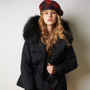 Chic Black Raccon Fur Collar Snapped Waist Tie Slimmy Puffer Jacket