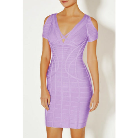 Sexy V-neck Strappy Cut-out Shoulder Bandage Dress gallery 1