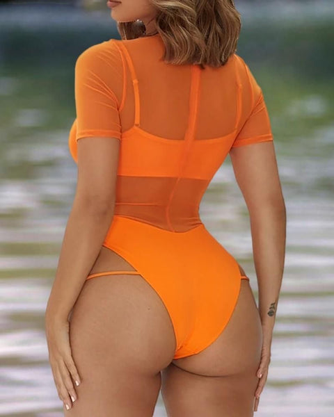 Sheer Mesh Cutout One Piece Swimsuit gallery 7