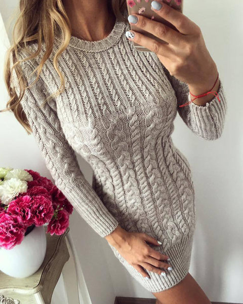 Cable Knit Solid Bodycon Sweater Dress