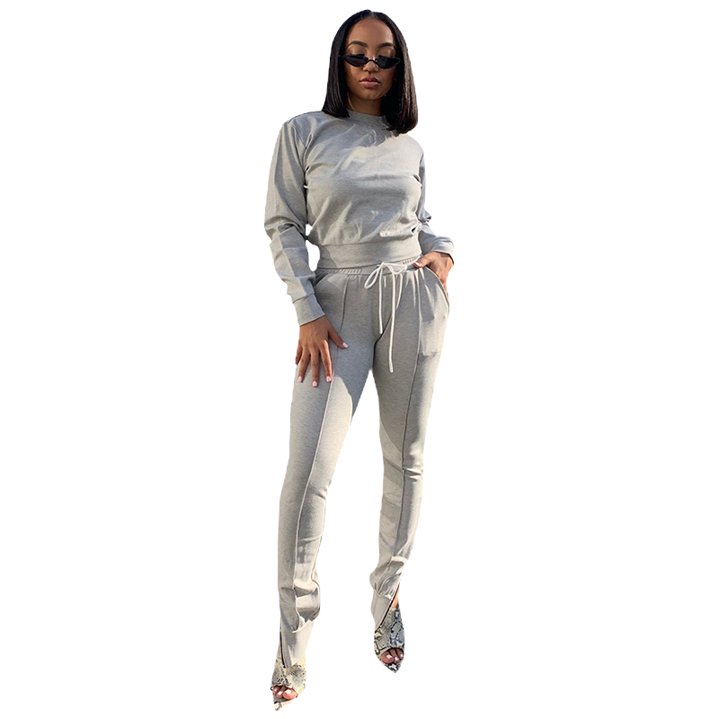 Seam Detail Top & Zippered Hem Joggers Lounge Set