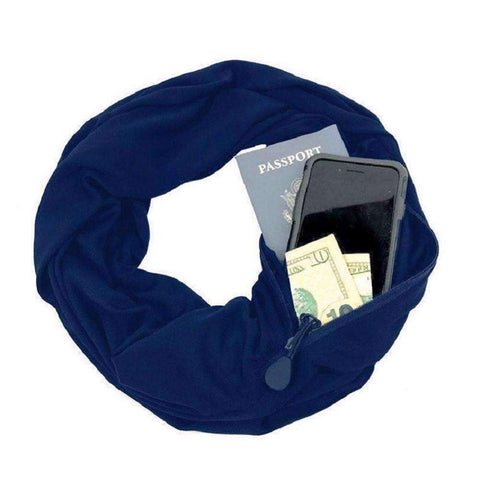 New Unisex Autumn Winter Scarves Solid Color Warm Windproof Scarf With Zipper Pocket Storage Bag gallery 5
