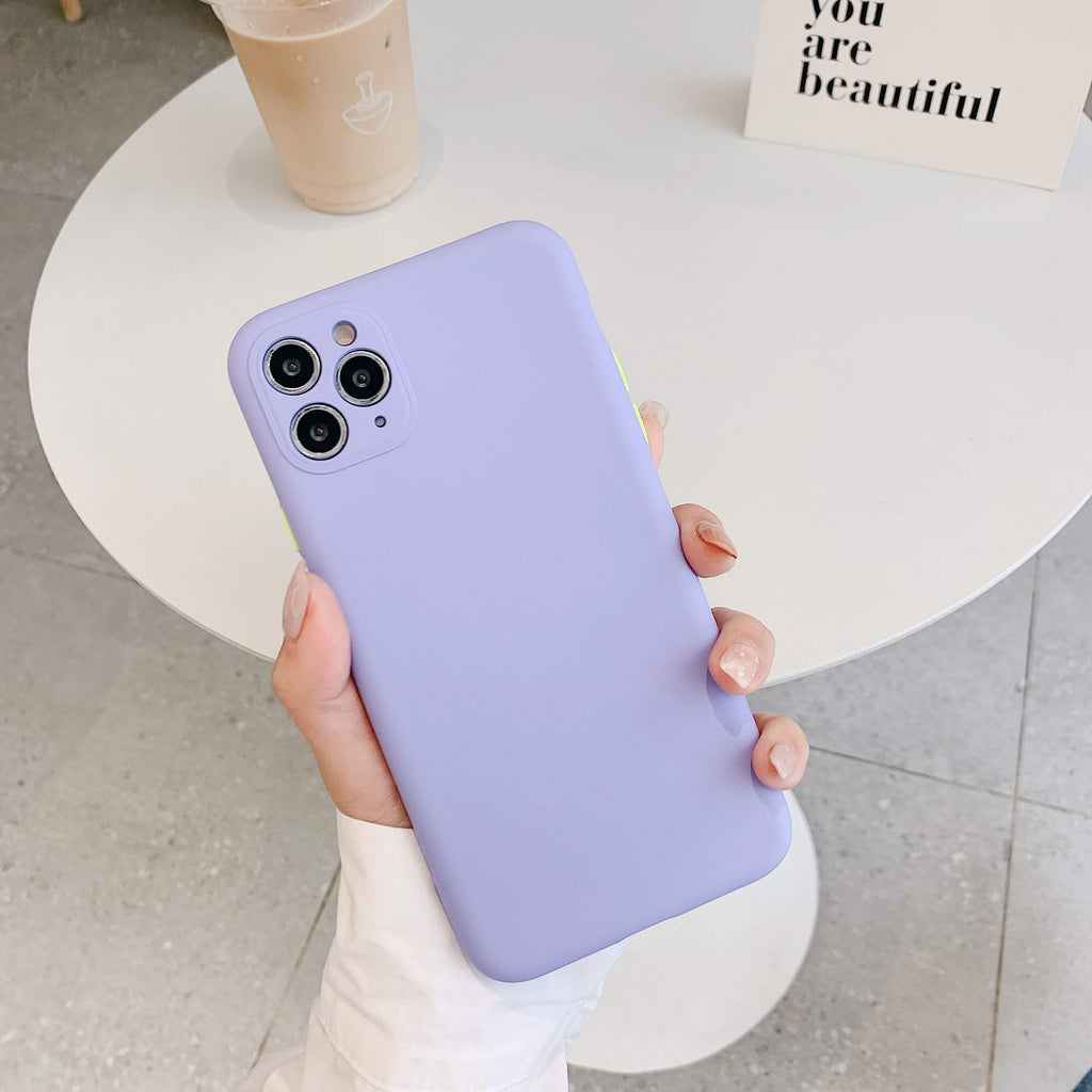 Lilac Contrast Button Detail Liquid Silicone iPhone Case