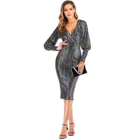 V-Neck Glitter Sequins Detail Puff Sleeve Bodycon Dress