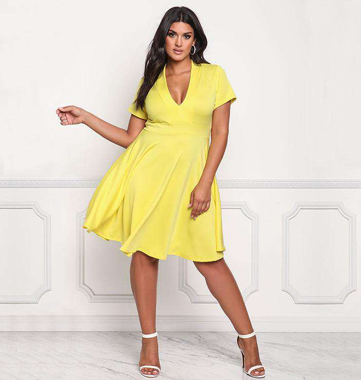 Plus Size Bright Yellow V Neck Skater Dress