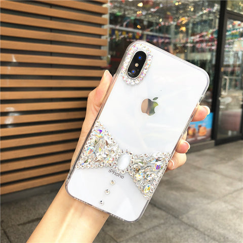 Bowknot Rhinestone Clear Transparent Phone Case for Samsung gallery 4