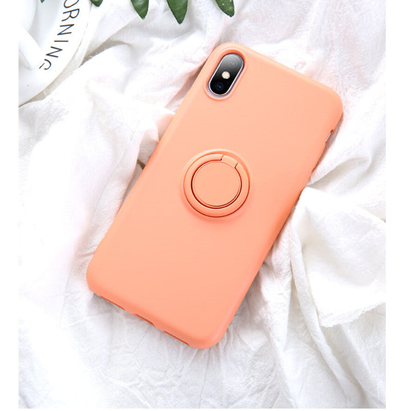 Peach Soft Liquid Silicone iPhone Case with Phone Holder