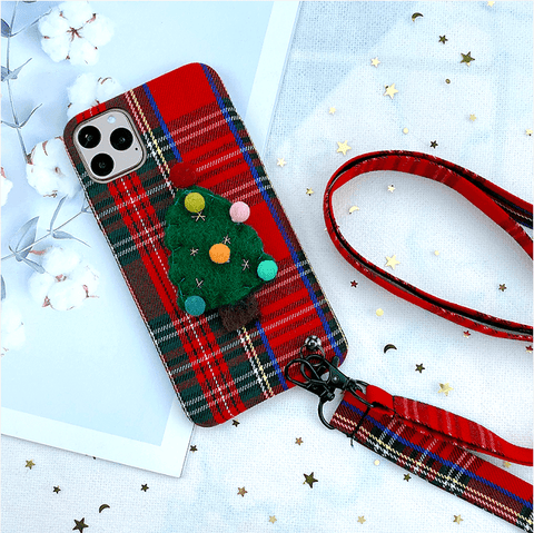 Christmas Tree Plaid Pattern iPhone Case with Hand Strap