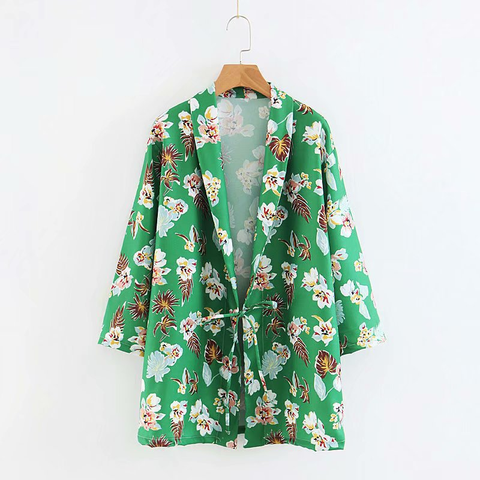 Green Floral Print Tied Front Blazer