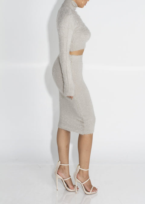 Solid Fluffy Knit Crop Sweater & Skirt Set gallery 9