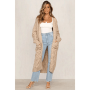 Chunky Longline Pocket Front Maxi Knitted Cardigan