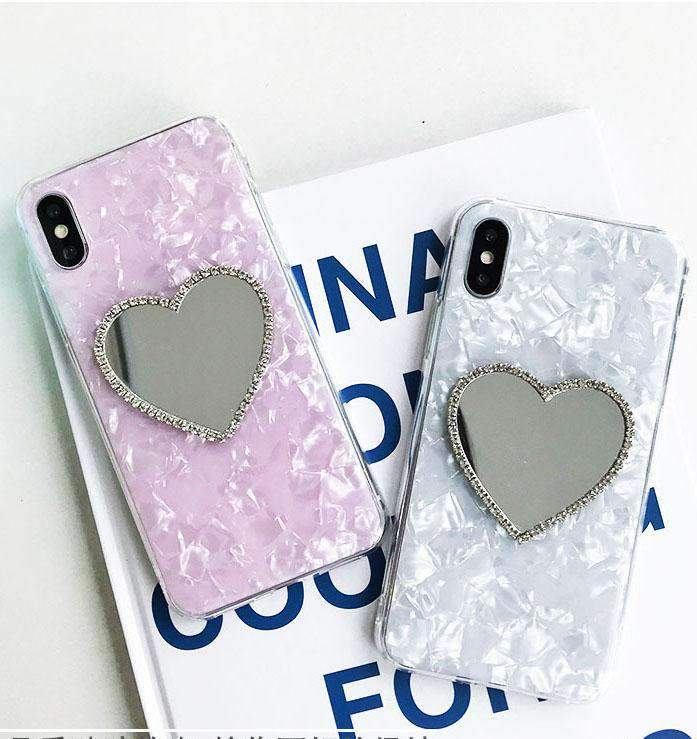 Classic Shell Pattern Samsung Case with Heart Designed Mirror