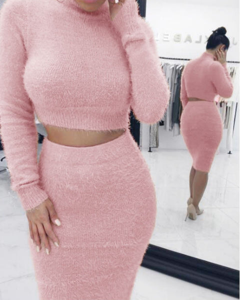 Solid Fluffy Knit Crop Sweater & Skirt Set gallery 3