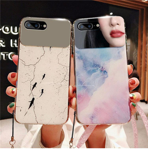 Contracted Dreamy Marble Fish Pattern iPhone Case