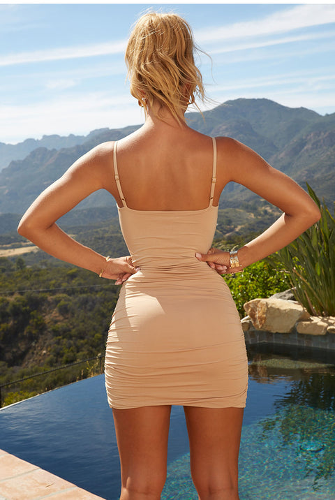 Sexy Ruched Deep-V Cut Front Bodycon Dress gallery 11