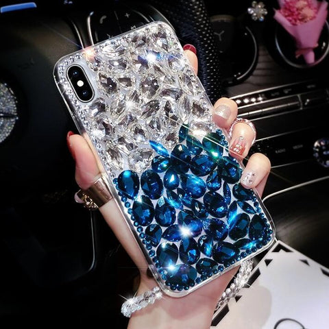 Clear Glittering Rhinestone Phone Case for Samsung with Wrist Strap gallery 4