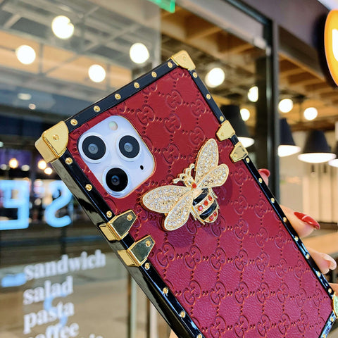 Rivet Trim Metal Bee Deco Square Phone Case for Samsung gallery 11