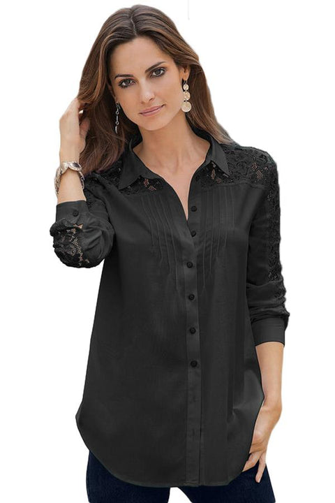 Black Lace Splice Long Sleeve Button Down Shirt gallery 1