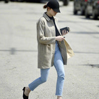 Light Blue Raw Hem Straight-Leg Jeans