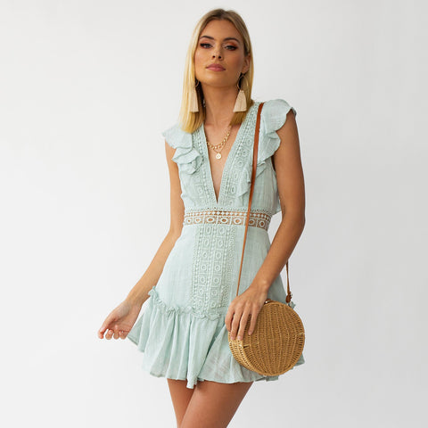 Plunge Hollow Out Tied Back Frill Mini Dress
