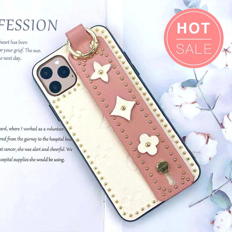 Chic Rivet Designed Four Leaf Clover iPhone Case with Wrist Strap
