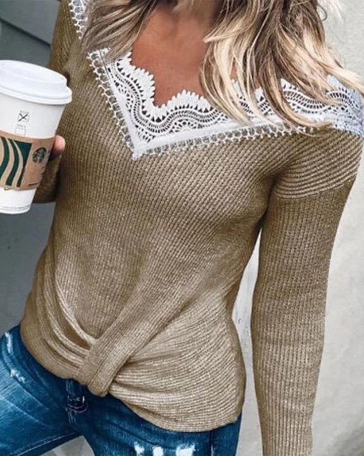 Rib Knit Contrast Lace Bodycon Sweater gallery 3