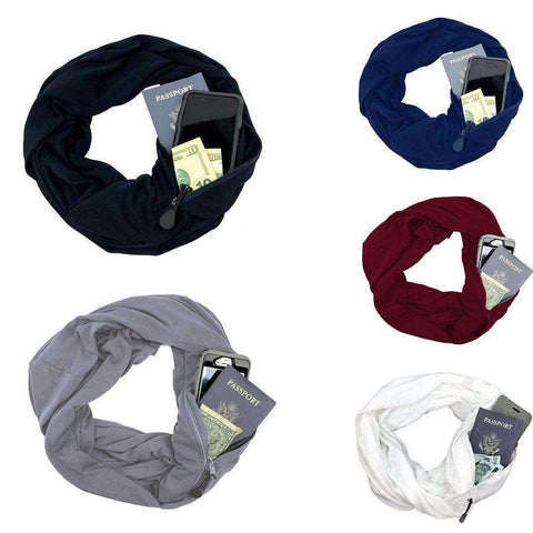 New Unisex Autumn Winter Scarves Solid Color Warm Windproof Scarf With Zipper Pocket Storage Bag gallery 1
