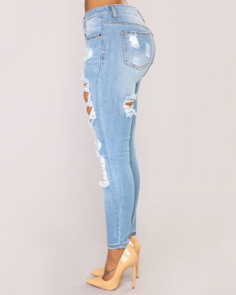 Mid Waist Elastic Extreme Ripped Jeans gallery 2