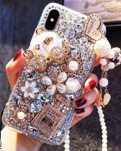 Luxury Bottle & Full Rhinestone Cover iPhone Case with Hand Strap