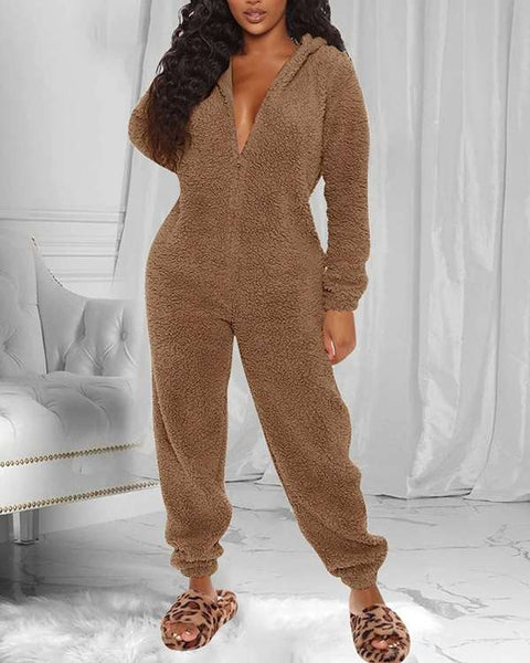 Solid Fluffy Hooded Hidden Zip Jumpsuit