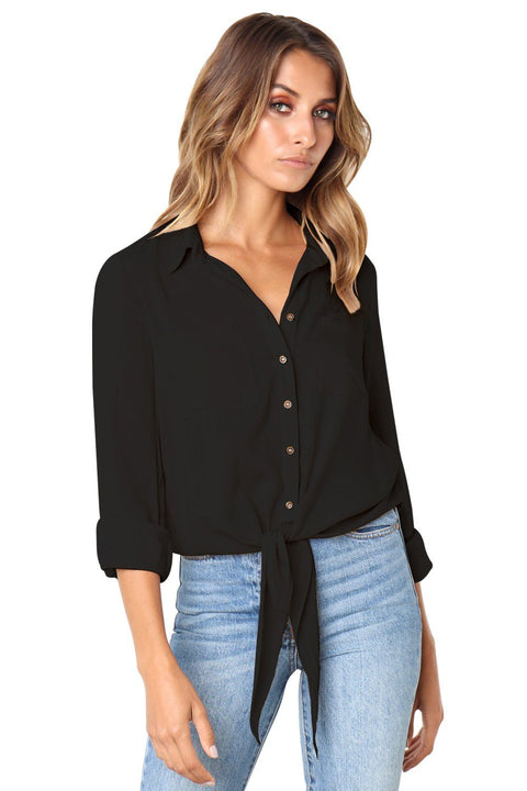 Black Crushed Linen Button-Down Casual Shirt gallery 1