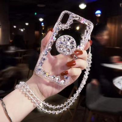 Brilliant Diamond Frame Decorate iPhone Case With Strap