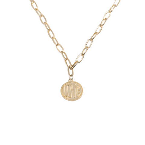 Gold Coin Engravable Love Link Pendent Necklace