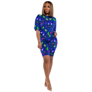 Butterfly Print Round Neck Top & Short Set