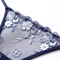 Transparent Mesh Stitching Embroidered Cotton Thong(3pcs)