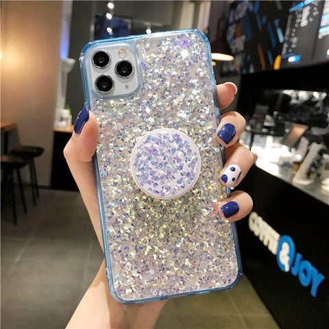 Four Colors Glittering Rhinestone Phone Case for Samsung with Phone Holder gallery 5