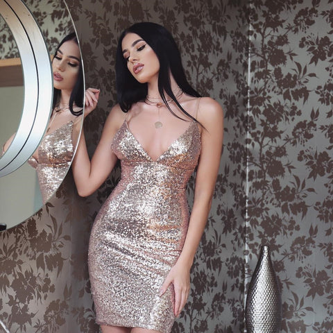 Sexy Low Cut Glitter Sequin Strappy Bodycon Dress gallery 7
