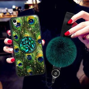 Malachite Green iPhone Case with Phone Holder and Pom-pom