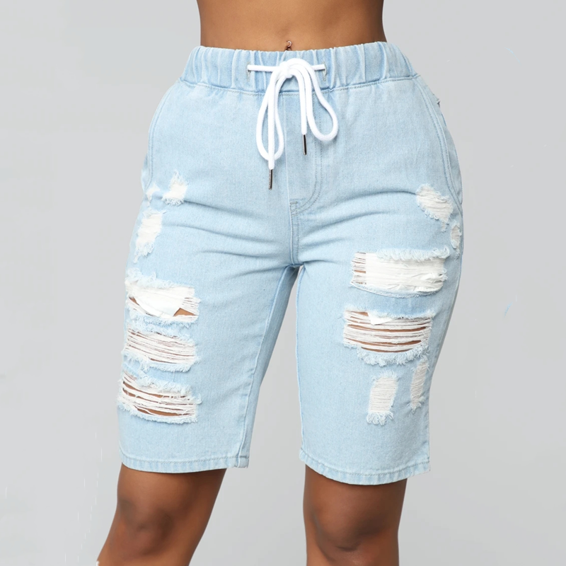 Elastic Drawstring Waist Distressed Shorts