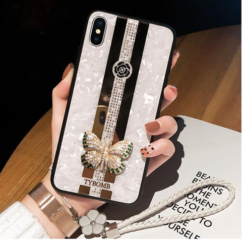 Butterfly Rhinestone Mirror Phone Case for Samsung with Hand Strap gallery 2